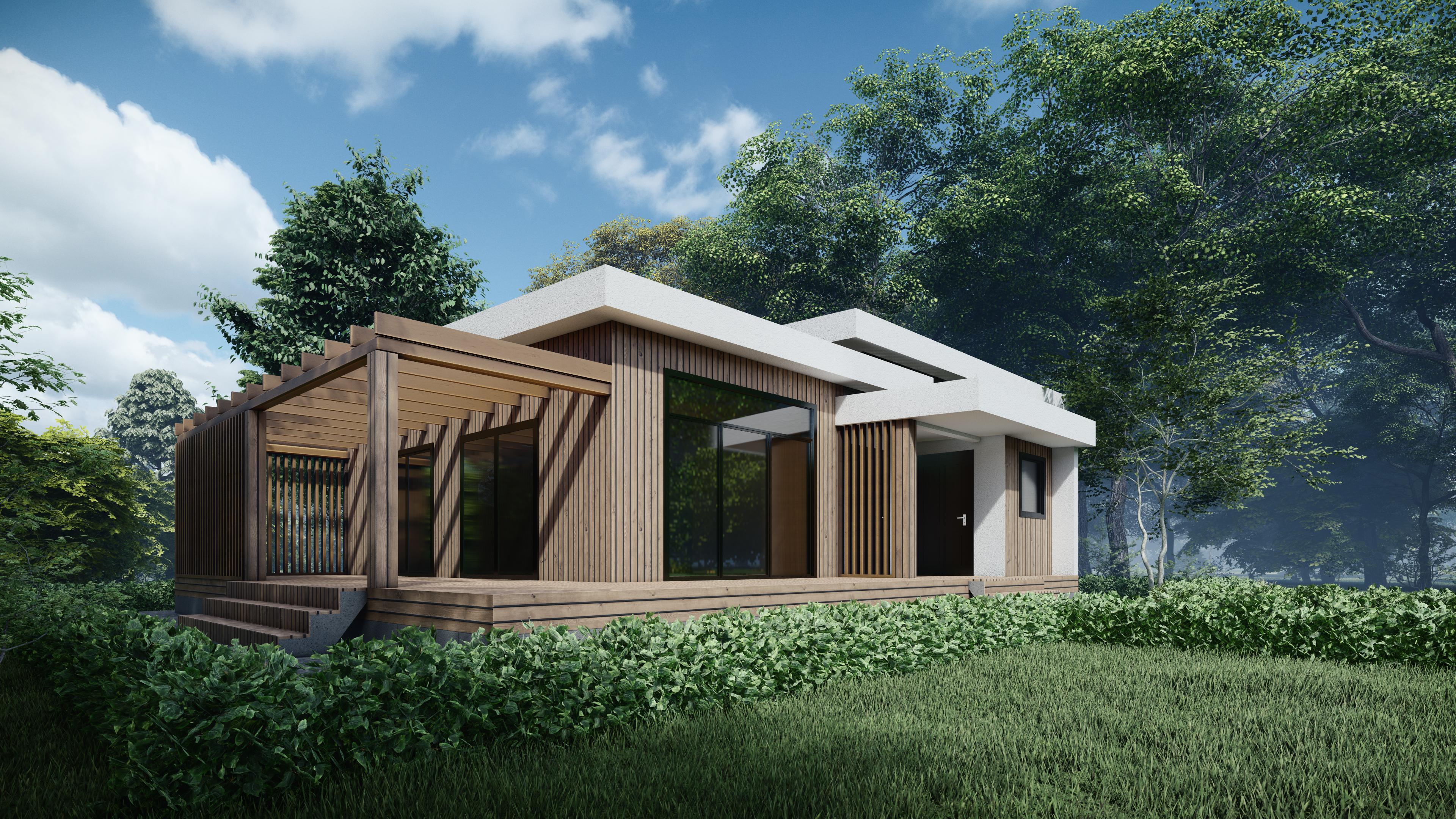 Проект дома КП Бекетово парк Хайтек 136м2